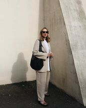 bag,black bag,blazer,h&m,straight pants,flat sandals,white blouse