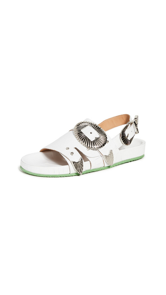 Toga Pulla Western Buckle Sandals in white