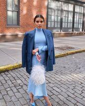 dress,turtleneck dress,midi dress,feathers,asymmetrical dress,blazer,pumps