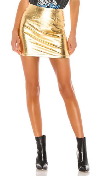 superdown Maye Mini Skirt in Metallic Gold