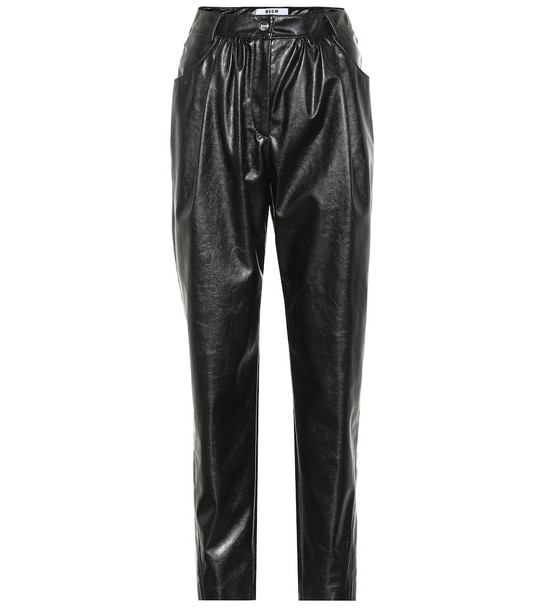 MSGM High-rise faux leather pants in black