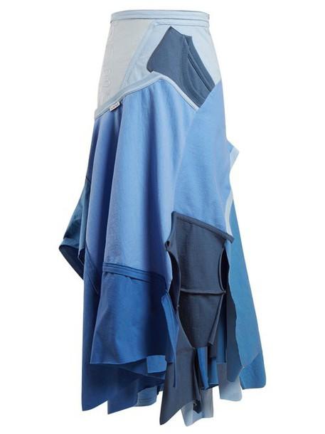 Loewe - Patchwork Asymmetrical Hem Skirt - Womens - Blue Multi