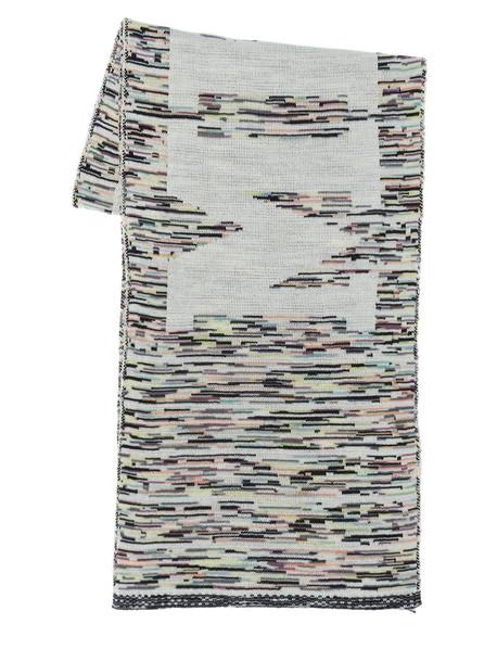 MISSONI Logo Wool Blend Scarf in white / multi