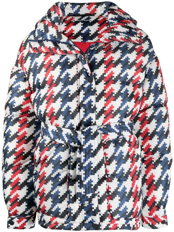 Perfect Moment graphic houndstooth print padded jacket in white