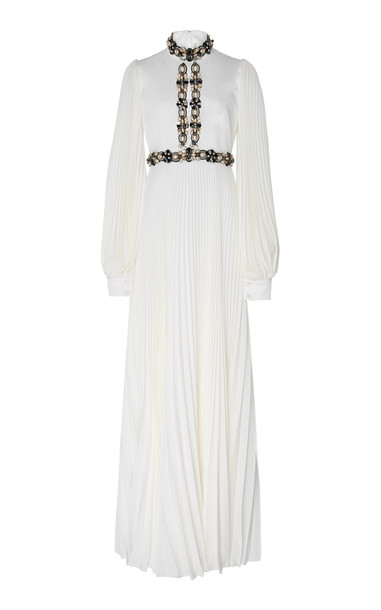 Andrew Gn Pleated Silk Gown Size: 34 in white
