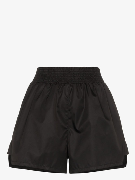 Prada smocked waist nylon gabardine shorts in black