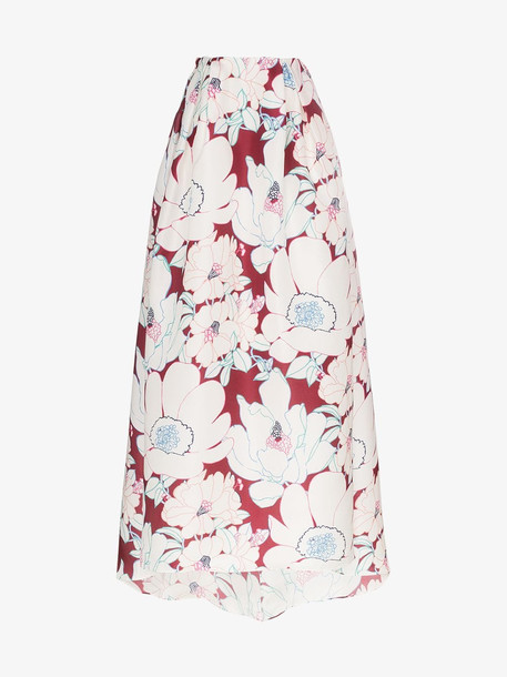 Carolina Herrera floral print full silk skirt
