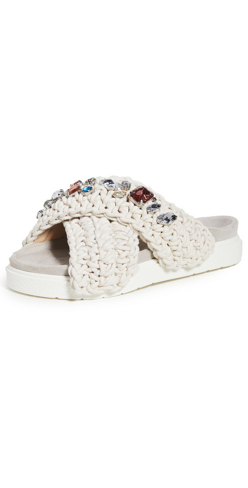 Inuikii Woven Stones Slides in white