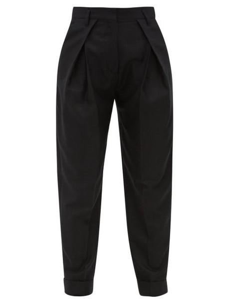 Ann Demeulemeester - Pleated High Rise Fleecewool Blend Trousers - Womens - Black
