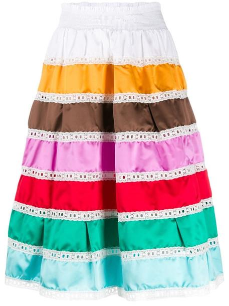 Prada high-waisted striped prairie skirt in white
