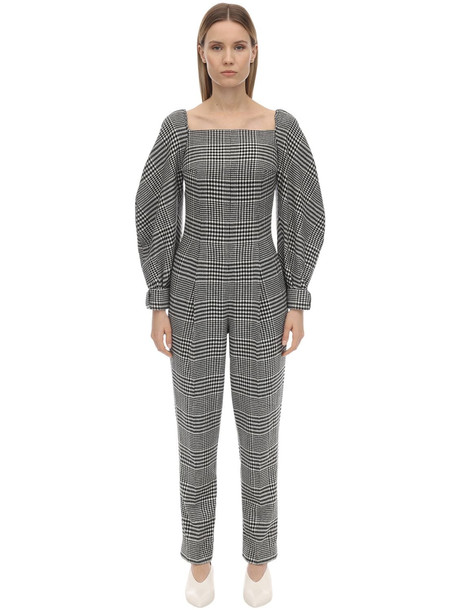 EMILIA WICKSTEAD Checked Wool Blend Jumpsuit in black / white