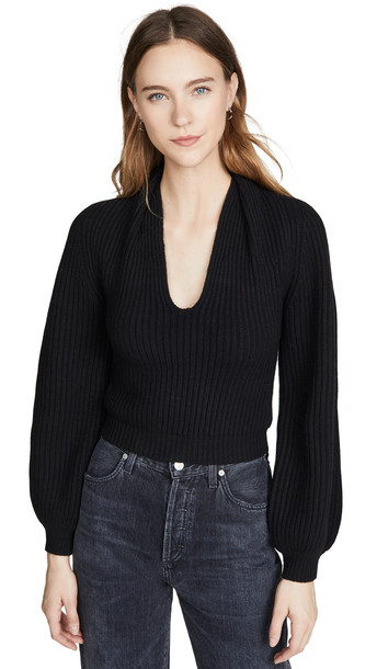 Alexander Wang Ribbed Pullover with Draped Neck in black
