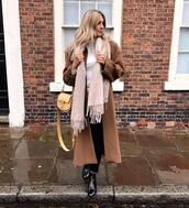 shoes,black boots,patent boots,ankle boots,black pants,beige coat,long coat,scarf,chloe bag,white turtleneck top