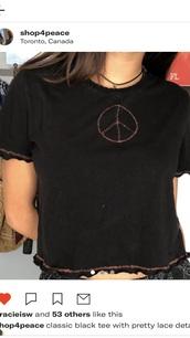 t-shirt,a peace cropped t-shirt