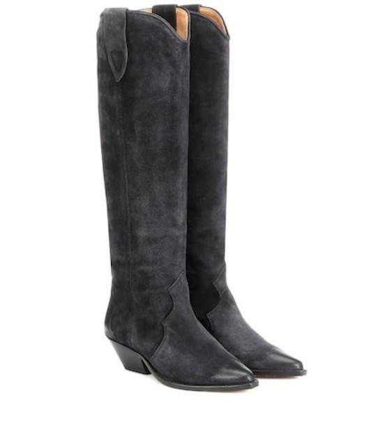 Isabel Marant Denvee washed velvet boots in black