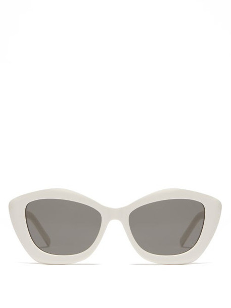 Saint Laurent - Pentagonal Acetate Sunglasses - Womens - White
