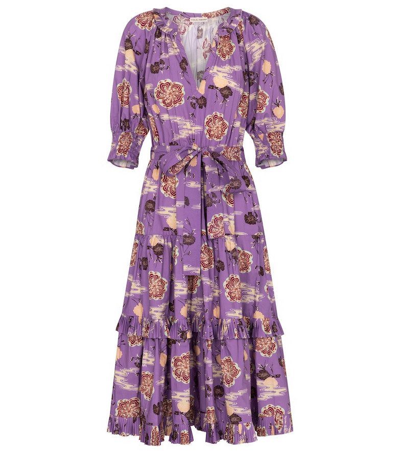 Ulla Johnson Dasha floral cotton poplin midi dress in purple