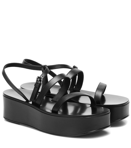 The Row Platform leather sandals in black