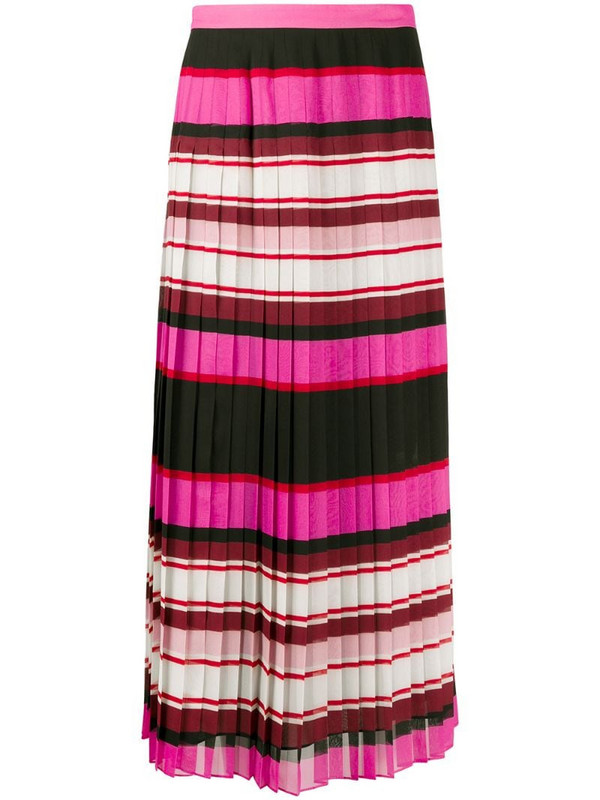 Valentino striped pleated silk skirt in pink
