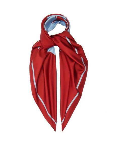 Burberry - Love-print Silk Scarf - Womens - Red Multi