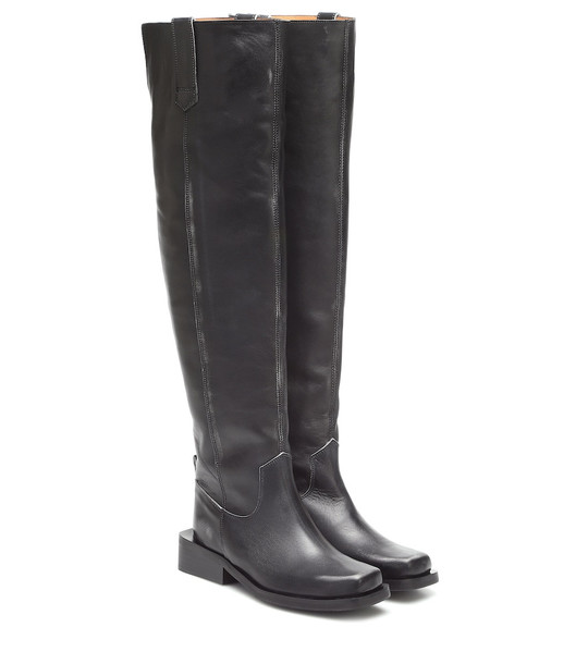 Ganni MC leather over-the-knee boots in black