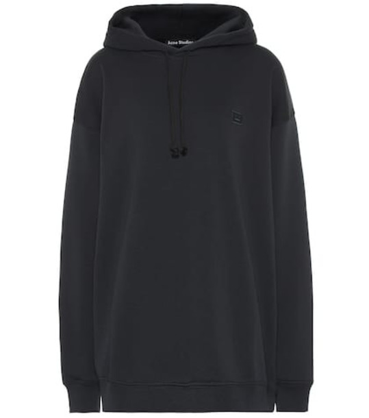 Acne Studios Face oversized cotton hoodie in black