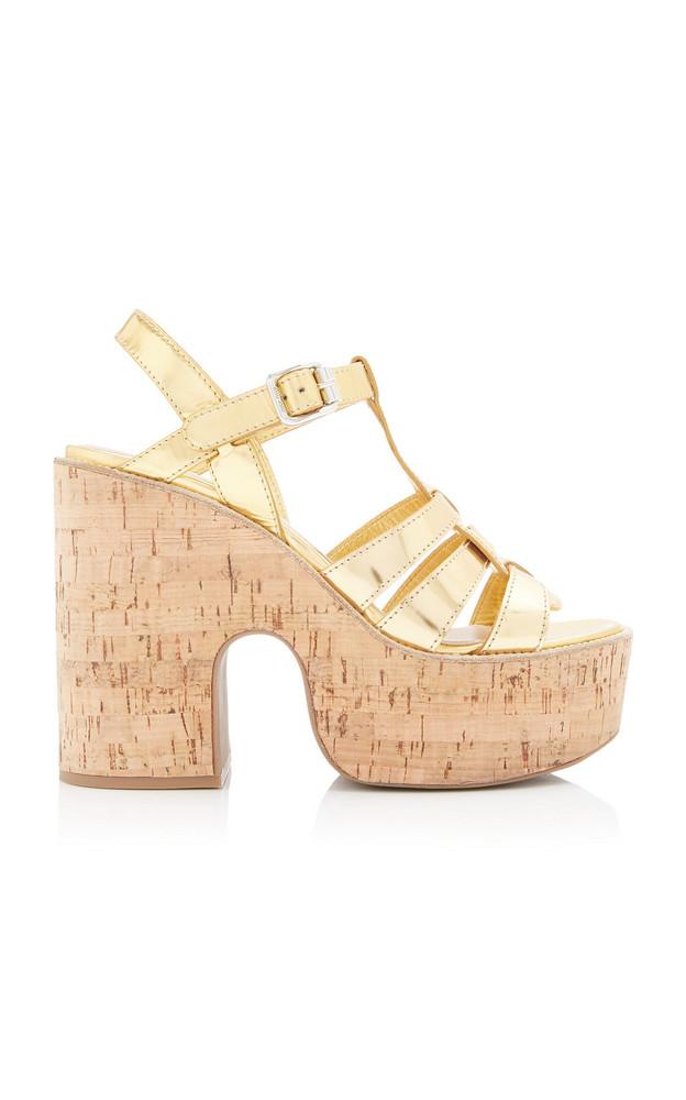 Miu Miu Metallic Leather Platform Sandals in gold