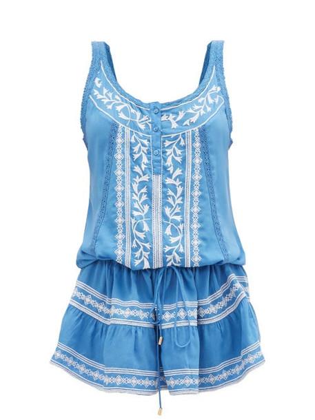 Melissa Odabash - Jaz Embroidered Mini Dress - Womens - Blue White