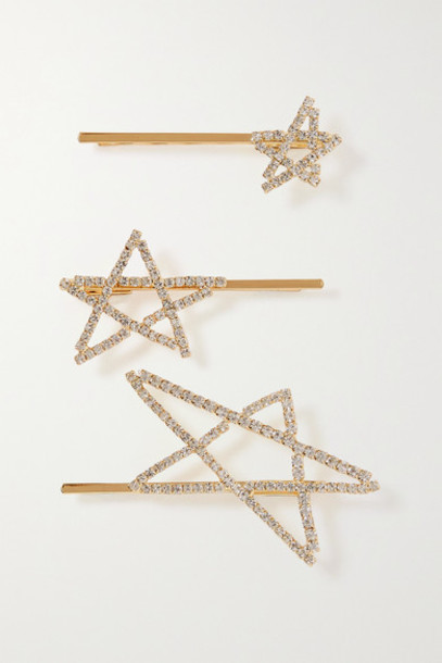LELET NY - Seeing Stars Set Of Three Gold-plated Crystal Hair Slides