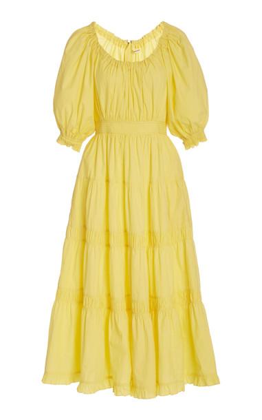 Ulla Johnson Colette Cotton Scoop neck Dress in yellow