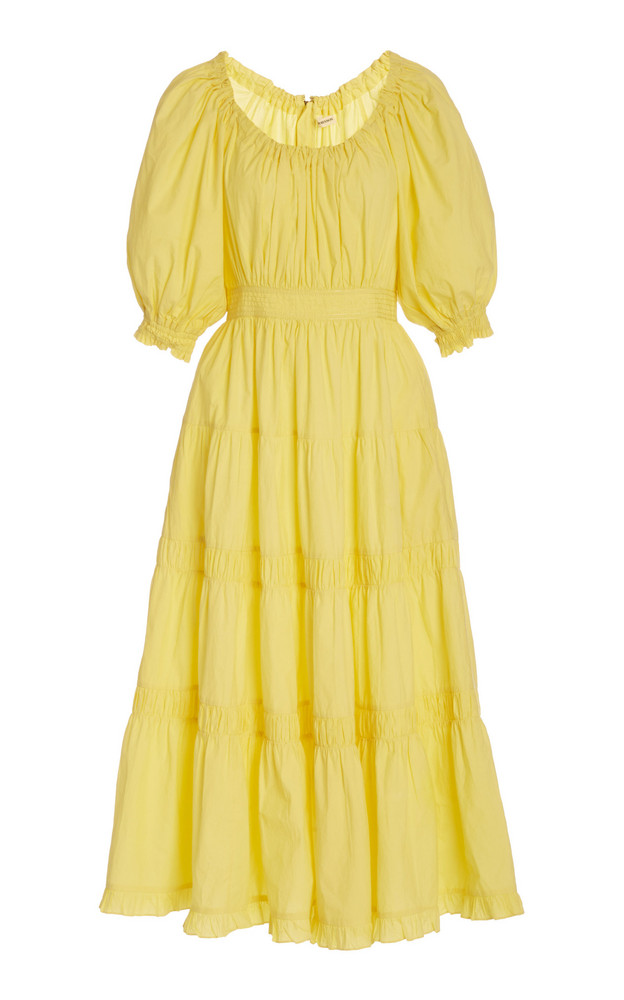 Ulla Johnson Colette Cotton Scoop neck Dress in yellow