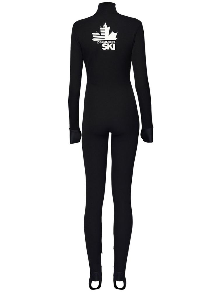 DSQUARED2 Back Logo Tech Jersey Ski Jumpsuit in black / white