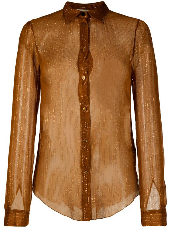 Forte Forte metallic-thread sheer shirt in brown