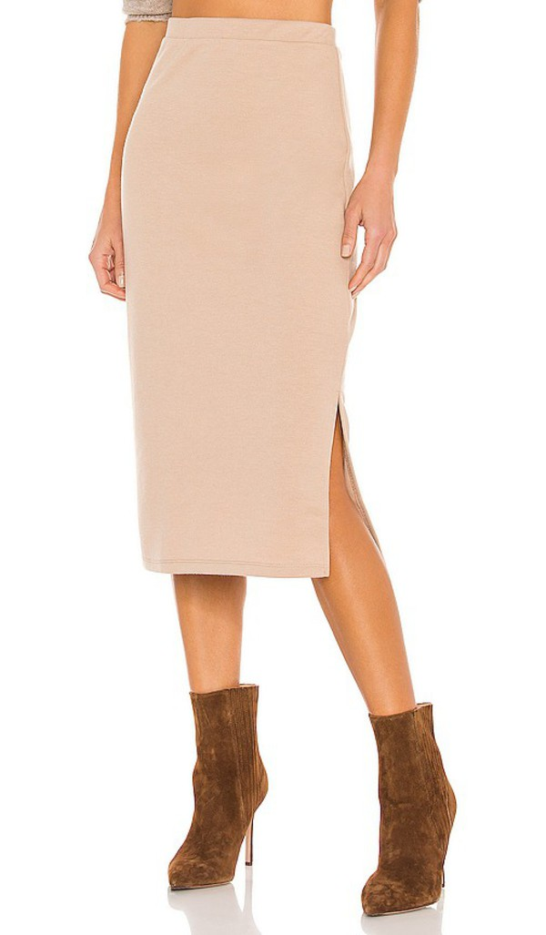 Line & Dot Cora Knit Skirt in Tan in taupe