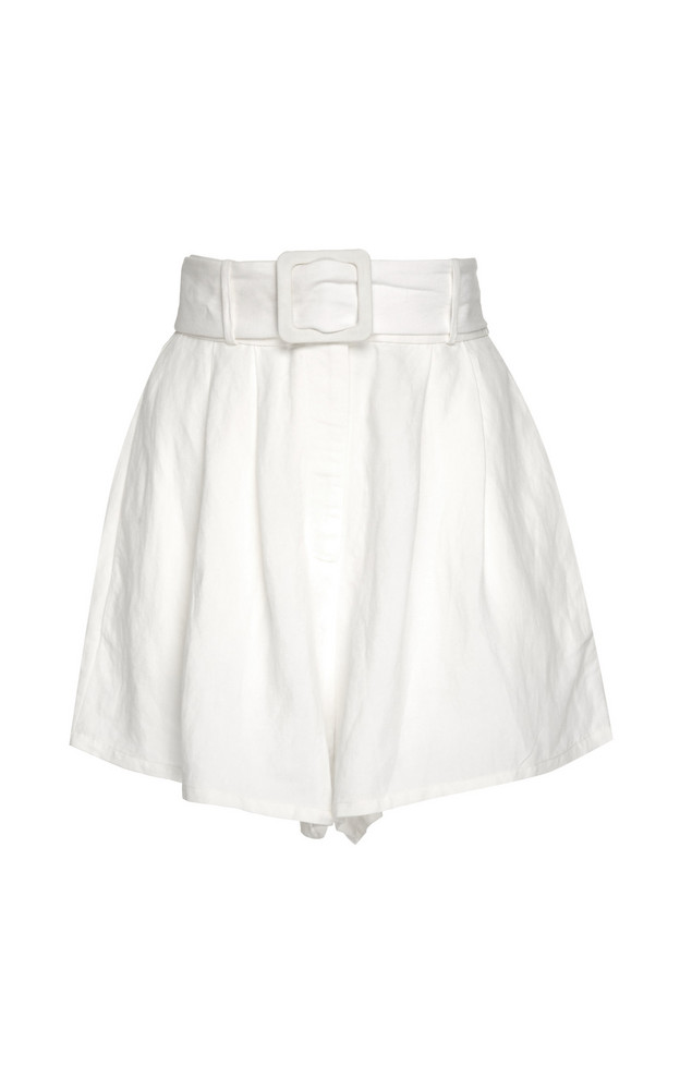 Adriana Degreas Belted Linen-Blend Shorts Size: L in white