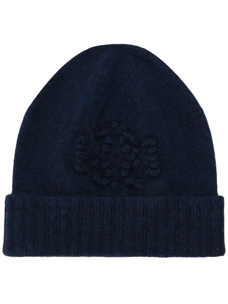 Barrie knitted beanie in blue