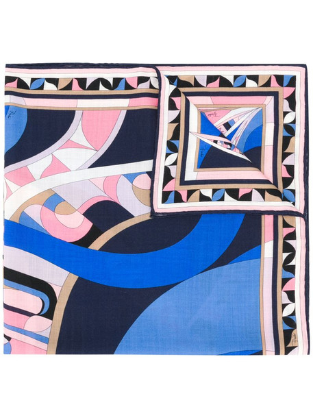 Emilio Pucci abstract print scarf in blue