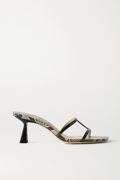 Jimmy Choo - Ria 65 Snake-effect And Patent-leather Mules - Snake print