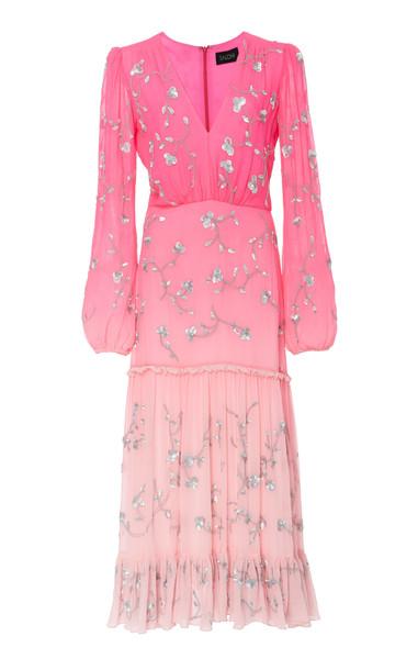 Saloni Devon Silk Ruffle Dress in pink