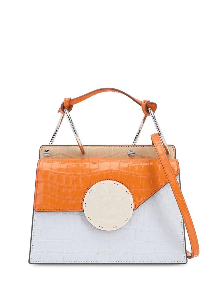 DANSE LENTE Phoebe Bis Croc Embossed Leather Bag in blue / papaya