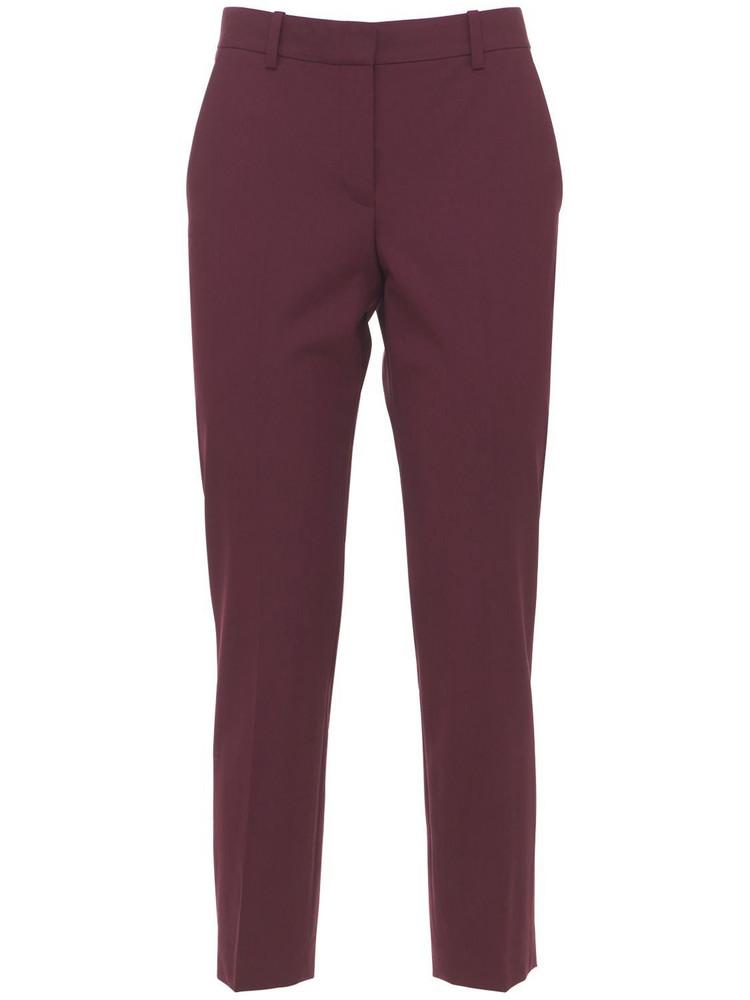 THEORY Treeca Wool Straight Crop Pants in burgundy