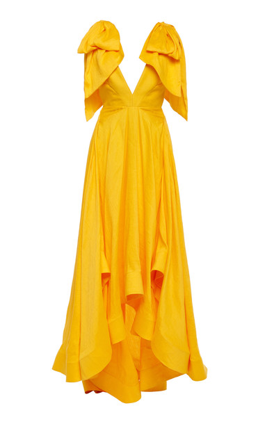Acler Bargo Asymmetric Ruffled Linen-Blend Gown Size: 2 in yellow