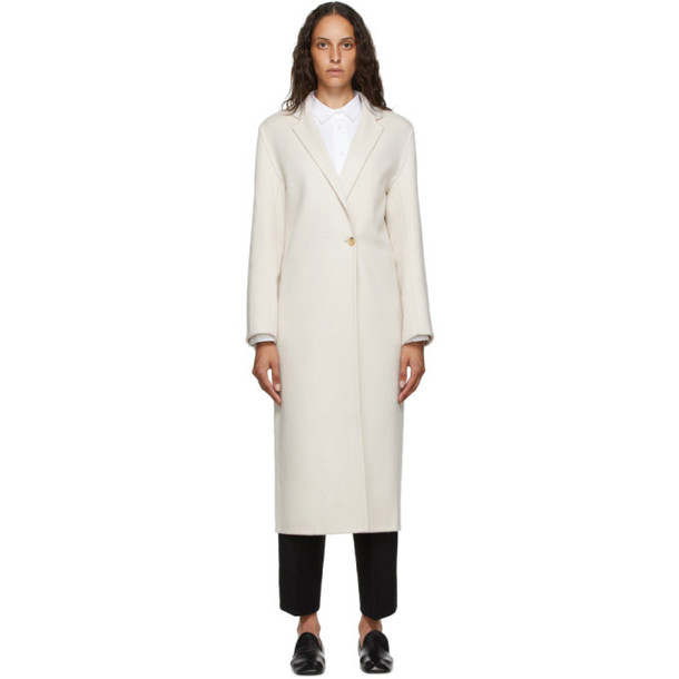 Arch The Beige Silk and Cashmere Coat in ivory