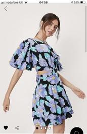 dress,floral dress,purple,cut-out