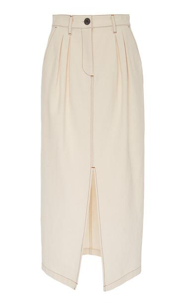 Mara Hoffman Florence Contrast-Stitch Cotton Midi Skirt in white