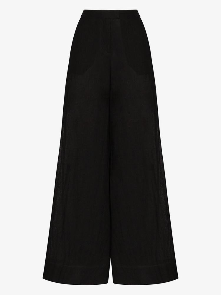 Lisa Marie Fernandez Wide leg linen trousers in black