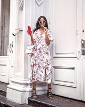 dress,floral dress,white dress,midi dress,slit dress,v neck dress,short sleeve dress,black sandals,white bag