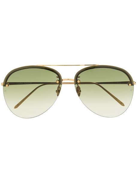 Linda Farrow aviator frame sunglasses in gold
