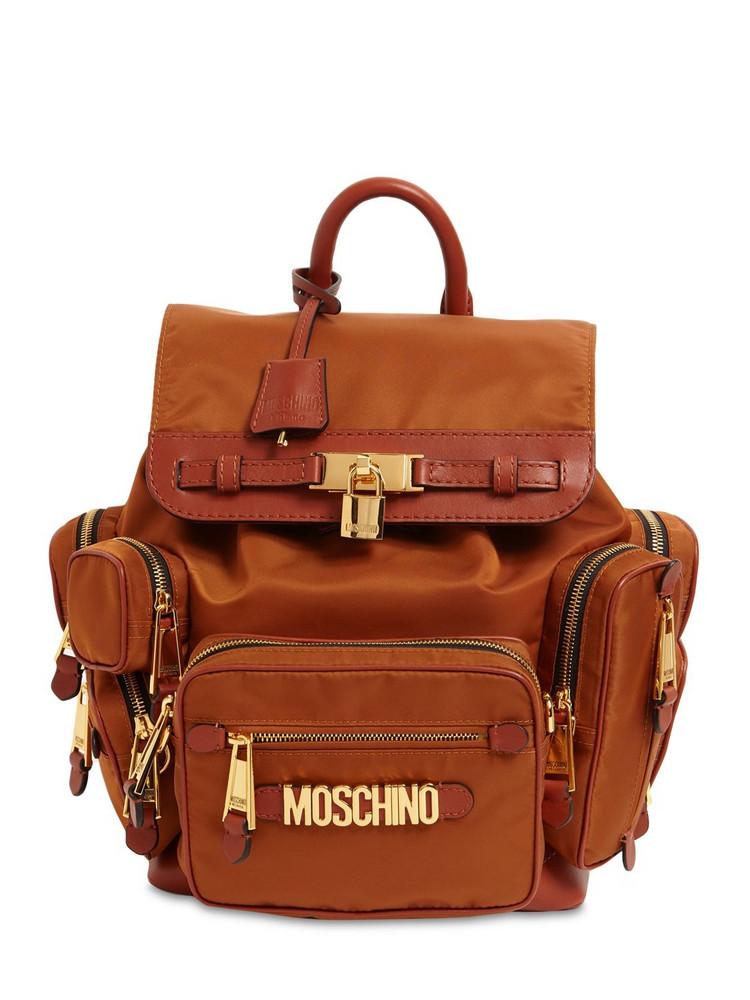 MOSCHINO Archive Safari Logo Nylon Backpack in brown