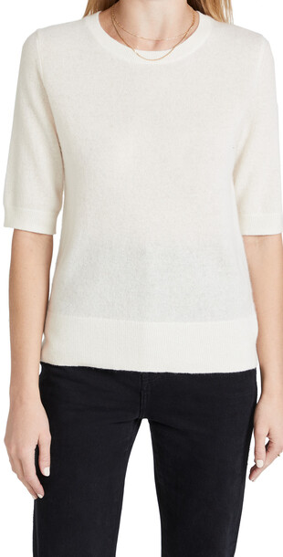 White + Warren White + Warren Elbow Sleeve Classic Cashmere Sweater